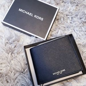MICHAEL KORS Mens Bifold Wallet Black NWT